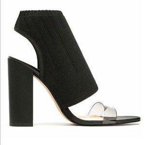 ZARA Black Peep Toe Chunky Heel Sandals - NEW
